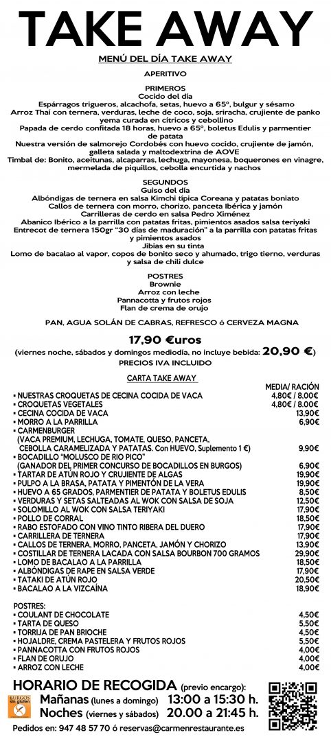 Carta Take Away Restaurante Carmen Burgos